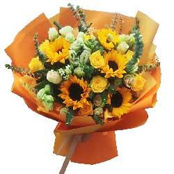 5朵向日葵,9朵黄玫瑰,开心快乐安康