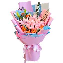 19朵戴安娜粉玫瑰,2支粉色百合,地老天荒