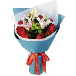 11朵红玫瑰,3支百合,给你一生的幸福