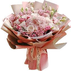 11朵粉玫瑰,粉色绣球花,生活有你更甜蜜