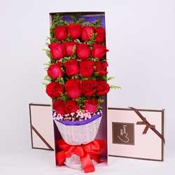 19朵红玫瑰,礼盒装,快乐爱情