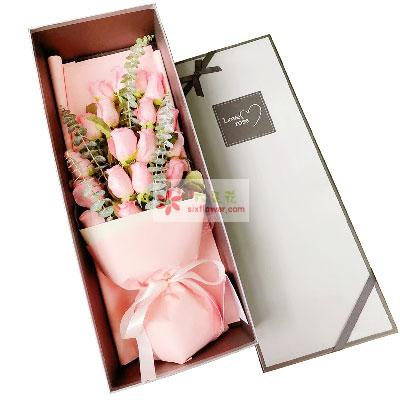 18朵戴安娜粉玫瑰,礼盒装,你在我心中是最美
