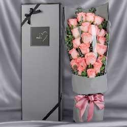 21朵戴安娜粉玫瑰,请接受我的思念