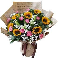 11朵粉色康乃馨,8朵向日葵,快乐幸福