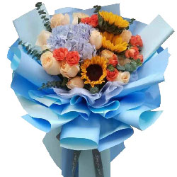 11朵香槟玫瑰,3朵向日葵,祝愿你前程似锦