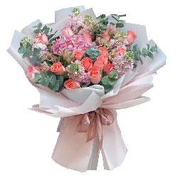 19朵粉玫瑰,1只粉色绣球花,你就是我要找的那个人