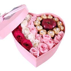 19朵玫瑰巧克力苹果礼盒,心心相印不了情