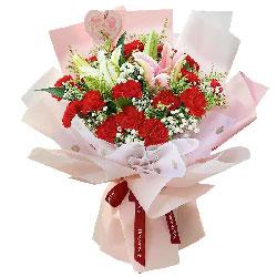 20朵红色康乃馨百合,祝您永远幸福