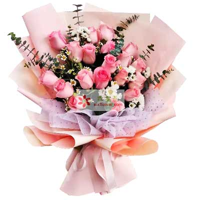 21朵戴安娜粉玫瑰,爱你在每一天
