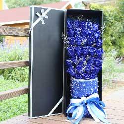 32朵蓝玫瑰,礼盒装,快乐情侣