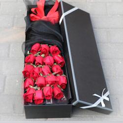 19朵红玫瑰,礼盒装,爱你一生不后悔
