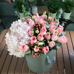 21朵戴安娜粉玫瑰,桶装礼盒,爱你一直到永远