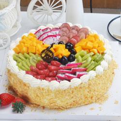 8寸水果圆形蛋糕,真挚的祝福