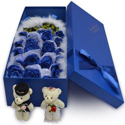 19朵蓝色妖姬,礼盒装,爱的肩膊