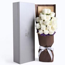 19朵白玫瑰,礼盒装,有你就快乐