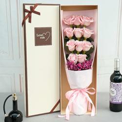 11朵粉色佳人玫瑰,礼盒装,有你快乐一辈子