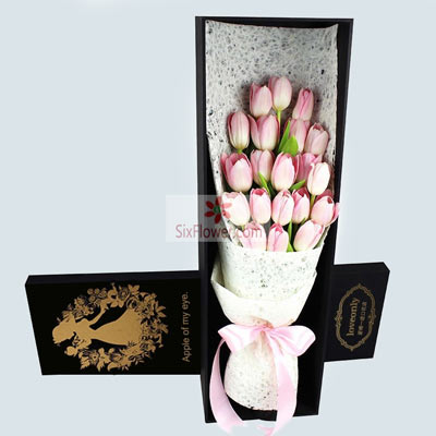 20朵粉色郁金香,吉祥快乐
