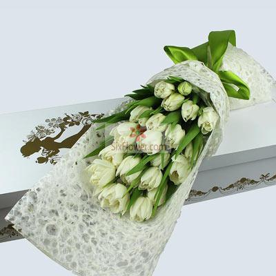 19朵白色郁金香,礼盒装,爱情生活甜蜜