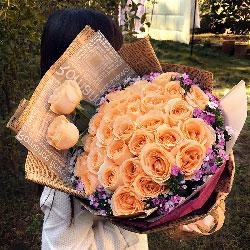 33朵香槟玫瑰,给你幸福