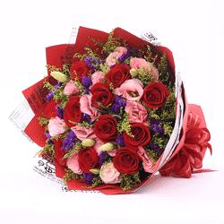 11朵红玫瑰,粉色桔梗,拥有你就拥有全部
