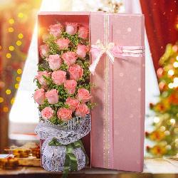 19朵戴安娜粉玫瑰,礼盒装,让我一生不再孤寂