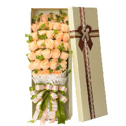 33朵香槟玫瑰,礼盒装,爱情密码