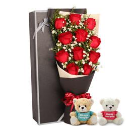 11朵红玫瑰,礼盒装,有你一生不再孤寂