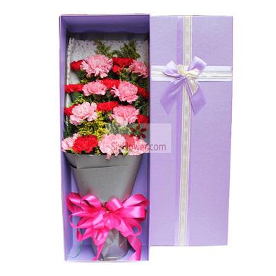 19朵康乃馨,礼盒装,希望你一生幸福快乐