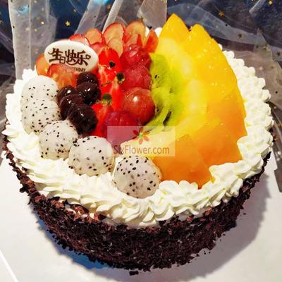8寸水果圆形蛋糕,老婆生日快乐