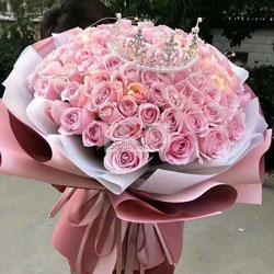 99朵戴安娜粉玫瑰,因为有了你而幸福温馨