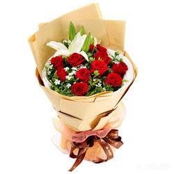 11朵红玫瑰,1支白色多头百合,一颗真诚的心