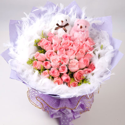 27朵粉玫瑰,缘分地久天长