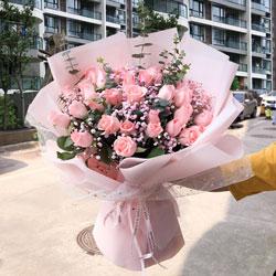 25朵戴安娜粉玫瑰,爱的问候