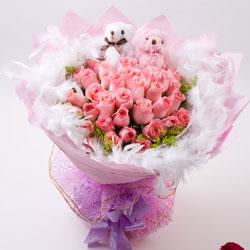 33朵戴安娜粉玫瑰,与你生活的点点滴滴