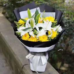 11朵黄菊,2支白色百合,清明思念