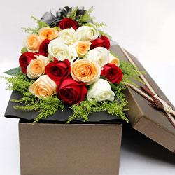 18朵玫瑰,礼盒装,有你每天才甜美