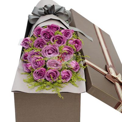 19朵紫玫瑰,礼盒装,浪漫爱情