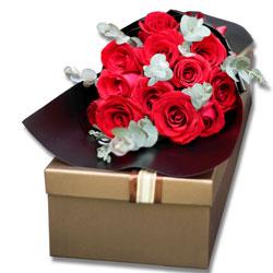 12朵红玫瑰,礼盒装,快乐爱人