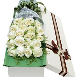 18朵白玫瑰,礼盒装,一生的幸福和甜蜜