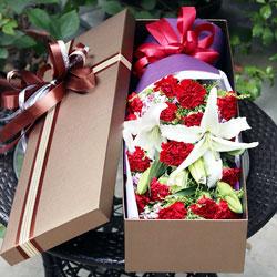16朵红色康乃馨,礼盒装,青春不变