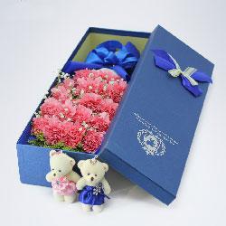 18朵粉色康乃馨,礼盒装,永远青春漂亮