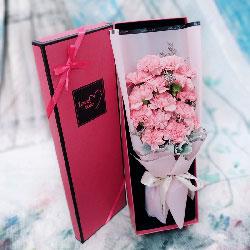 16朵粉色康乃馨,礼盒装,千言万语