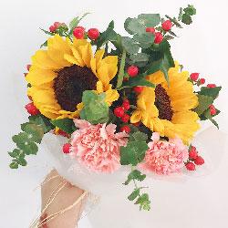 2朵向日葵,6朵康乃馨,青春的时光