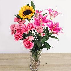 12朵粉色康乃馨,百合向日葵瓶插花,愉快的日子
