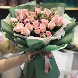 21朵戴安娜粉玫瑰,爱你的心永不变