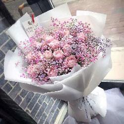 19朵戴安娜粉玫瑰,粉色满天星丰满,心的思念