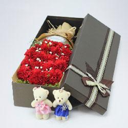 18朵红色康乃馨,礼盒装,健康恩赐