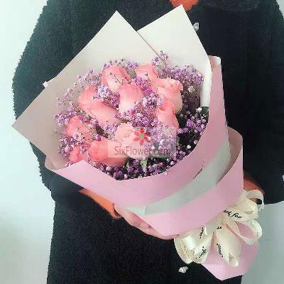 11朵戴安娜粉玫瑰,幸福快乐一辈子