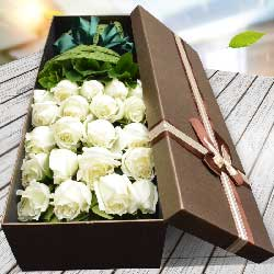 21朵白玫瑰,礼盒装,浪漫情路你知我心