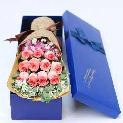 11朵戴安娜粉色玫瑰,礼盒装,我的爱人愿你一切都好